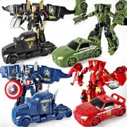 IndusBay Avenger Collection of 4 SuperHero Captain America IronMan Hulk and Thor Autobots Transformers Car Deformation Avengers Action Figure Toy