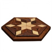 Desi Karigar Small Wooden 30-Piece Star Jigsaw/ Puzzle Board- Wooden Toy Game - Brain Teaser