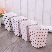 48pcs Popcorn Boxes Holder Containers Cartons Paper Bags Dots Box for Movie Theater Dessert Tables Wedding Favors (Black, Red, Pink and Purple Dots with White Background)