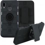 Let op type!! Voor Huawei P20 Lite 3 in 1 Cube PC + TPU beschermhoes met 360 graden draaien zwarte ring houder (zwart)