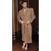 Five Wien Длинный классический мужской халат из бамбукового волокна бежевого цвета Five Wien FW1015 Бежевый распродажа