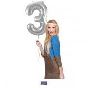 3. szám, fólia lufi, 86 cm, ezüst