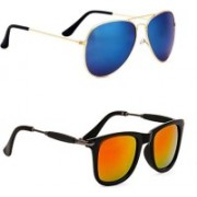 Sulit Aviator, Wayfarer, Cat-eye Sunglasses(Blue, Yellow)