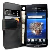Sony Ericsson Xperia Arc S Wallet Калъф Черен + Протектор