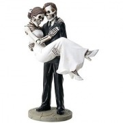 Groom Carrying Bride Skeleton Face Wedding Couple Statue Figurine