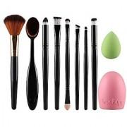 Shopimoz 10 PCS Foundation Blending Blush Eyeshadow Face Powder Brush Makeup Brushes Set with Cosmetic Sponge Puff and Bru