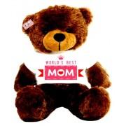 2 feet big brown teddy bear wearing Worlds Best Mom T-shirt