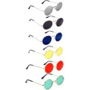 Elligator Retro Square, Aviator, Oval, Round Sunglasses(Red, Black, Green, Yellow, Silver, Blue)