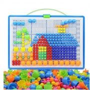 CiCy 296 Pcs Mushroom Nails Peg Puzzles Jigsaw Puzzle Creative Mosaic Pegboard Educational Toys