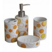 Set baie portelan 4 piese dozator sapun sapuniera suport periute dinti pahar cu buline galben