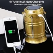 Solar USB Port Recharger Tent Lamp LED Camping Light Tensile Lantern Flashlight