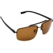 Hrinkar Rectangular, Wrap-around Sunglasses(Brown)
