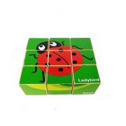 Emob Preschool Educational Animal Theme 9 Pcs Wooden Cube Puzzle Block Set Toy for Kids (9 Pieces)