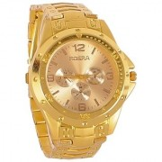 Rosara Round Dial Gold Metal Strap Automatic Watch for Men 6 MONTH WARRANTY