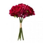 Buchet de trandafiri artificiali F419-274 Pami Flower 24 cm Rosu