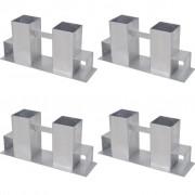 vidaXL Suporturi stivuire lemn de foc din oțel, 4 buc, argintiu