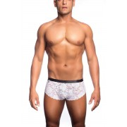 MaleBasics Lace Cheek Boxer Brief Underwear White MBL28