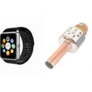 Zemini GT08 Smart Watch and WS 858 Microphone Karrokke Bluetooth Speaker for LG OPTIMUS L4 II(GT08 Smart Watch with 4G sim card camera memory card  WS 858 Microphone Karrokke Bluetooth Speaker )