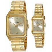 Titan Bandhan Analog Gold Dial Pair Watch - NK15812488YM05
