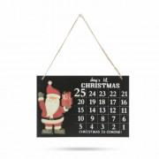 Adventi naptár fából akasztóval - 30 x 20 cm