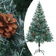 vidaXL Изкуствено коледно дърво със скреж и шишарки, 150 см