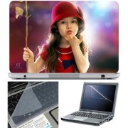 Finearts Laptop Skin Cute Girl Flying Kiss With Screen Guard And Key Protector - Size 15.6 Inch