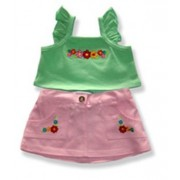 """Green Top and Pink Skirt - 6061 Fits 15"""" - 16"""" bears, includes Build a Bear, The Bear Mill, and Stuff your own Animals."""