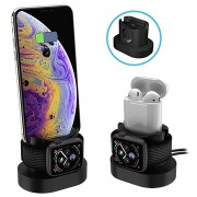 3-in-1 Silicone Docking Station - iPhone, Apple Watch, AirPods - Zwart