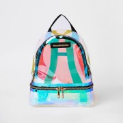 River Island Girls Silver holographic backpack (One Size)