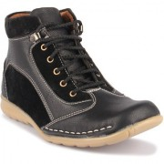 Footista Mens Black Lace-up Lace-up Boot