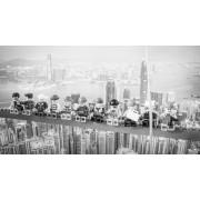 Werk aan de Muur Schilderij Lunch atop a skyscraper Lego edition - Aluminium Dibond - 55x30