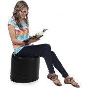 Home Story Round Ottoman Medium Size Black With Beans