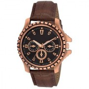TRUE CHOICE NEW 134 TC 11 Brown Round Dial Brown Leather Strap Quartz Watch For Men