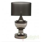 Veioza, lampa de masa LUX, finisaj black nickel, abajur organza, H-120cm, Silom 105482 HZ