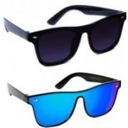 jaknap Shield Sunglasses(Black, Blue)