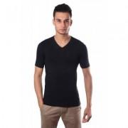 Schiesser Men Stretch T-Shirt V-neck Black