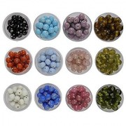 eshoppee 8mm round glass beads 12 colors x 20 gm for jewellery making and home decoration