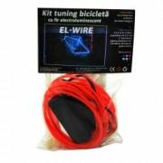 Kit Luminos pentru Tuning de Bicicleta cu Fir El Wire Culoare Rosu