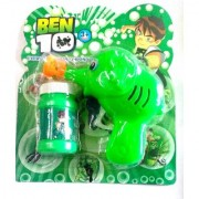 Green Toon Hand Pressing Bubble Making Toy Gun (Color and Design May Vary)