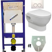 Douche Concurrent Toiletset Hangend 100-2 Geberit UP100 Inbouwreservoir Glans Wit Wandcloset Softclose Toiletbril Delta-21 Bedieningsplaat Wit