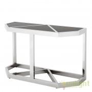 Consola LUX design elegant cu blat din sticla neagra Benoit Stainless Steel argintiu/negru 108729 HZ