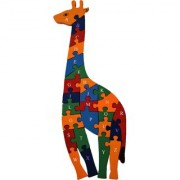 Shy Shy Wooden Jigsaw Puzzle In Shape Of Giraffe Each Piece Painted With Alphabets On One Side 1-26 Numbers On Other