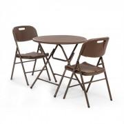 Blumfeldt Burgos, asztal + 2 szék, acél csövek, HDPE rattan imitáció, összecsukható (GDM10-Burgos Seat)