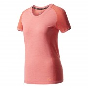adidas Women's Primeknit Wool Running T-Shirt - Easy Coral - L - Easy Coral