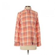 H&M Long Sleeve Button Down Shirt: Orange Plaid Tops - Size Small