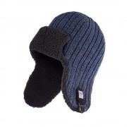 Zimowa czapka, uszatka męska - Granatowa mulina