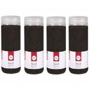 Rayher hobby materialen 4x 475 ml fijne zandkorreltjes zwart