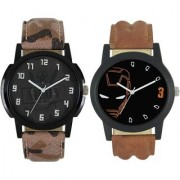 KDS Men New Stylish Army and Helmet Leather Strap WatchFX-MW-008-012