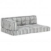 vidaXL Coussin de canapé palette Gris Tissu Patchwork