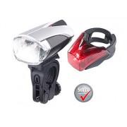 Set: LED-Fahrradlampe mit Licht-Sensor, Akku, inkl. Rücklicht, StVZO   Fahrradlampe